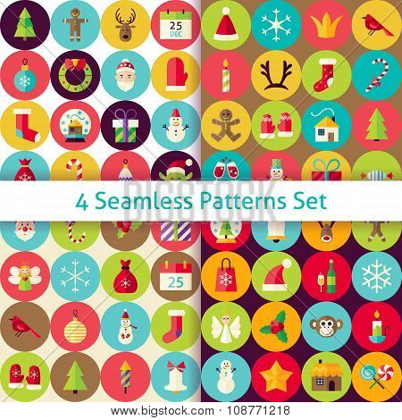 Four Vector Flat Merry Christmas Seamless Patterns Set With Circles