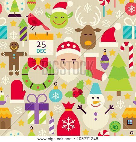 Merry Christmas Flat Design Vector Beige Seamless Pattern