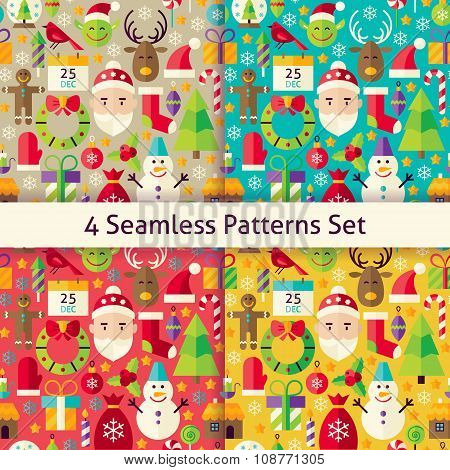 Merry Christmas Four Vector Seamless Patterns Set