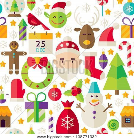 Merry Christmas Vector Flat Design White Seamless Pattern