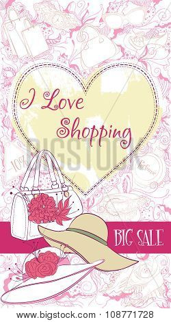 Vector decorative design card with women accessories: handbag and hats