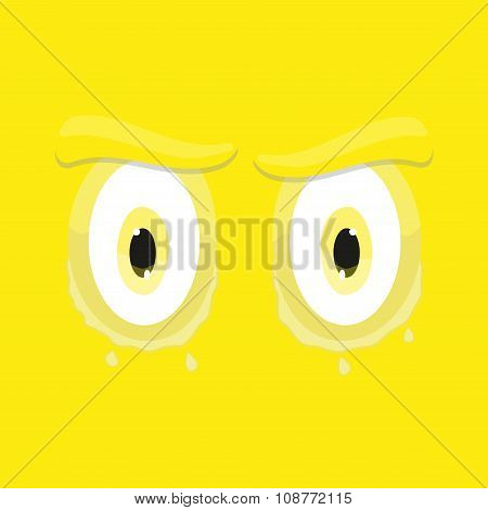 Cartoon Eyes Sad Square Flat Emoticon