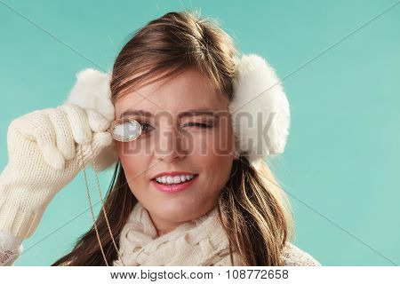 Cute Pretty Woman Girl Playing With Glass Necklace