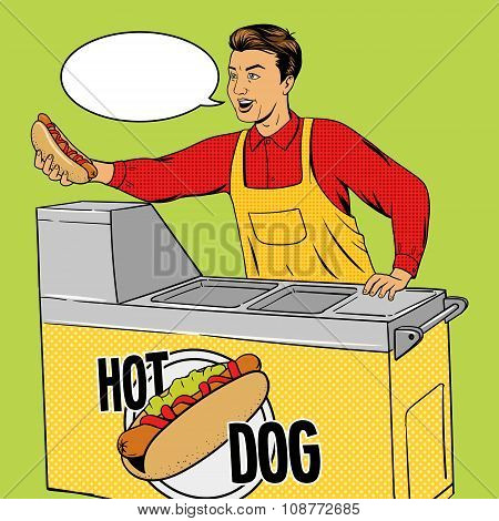 Hot dog guy pop art cartoon style vector