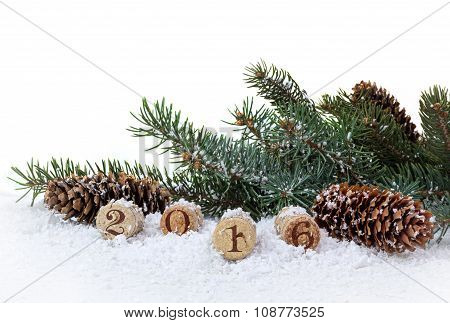 Bottle cork, pine and cones isolated on a white background