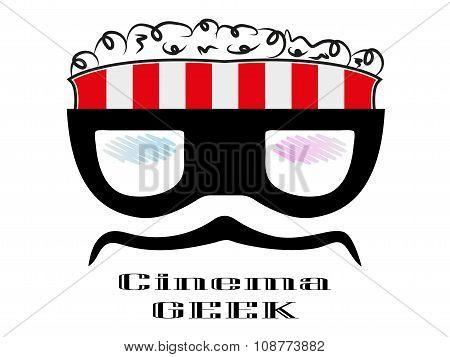 Cartoon Geek Character Popcorn Box Cinema
