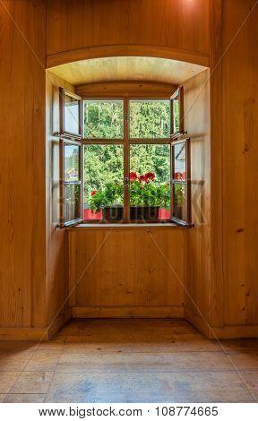 Open Window In Wooden Room Interior