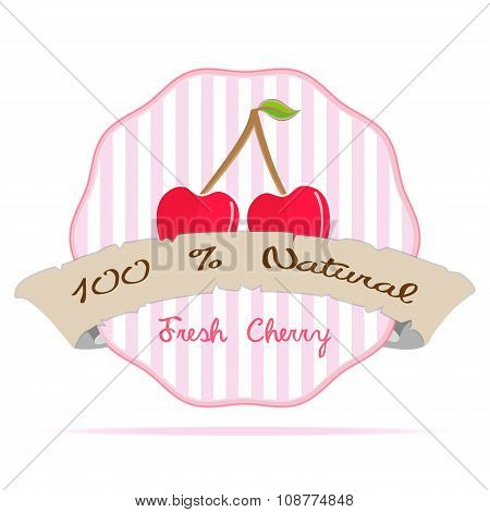 Vintage Cherry Vegan Juice Striped Label Vector Eco Emblem Illustration
