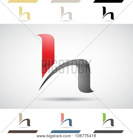 Design Concept of Colorful Stock Icons and Shapes of Letter H, Vector Illustration