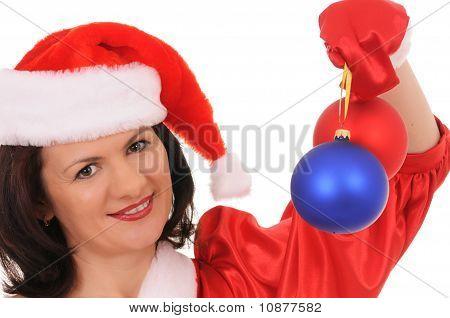 Woman In Hat Santa