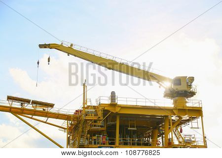 Crane operation transfer cargo on the platform and moving cargo from supply boat