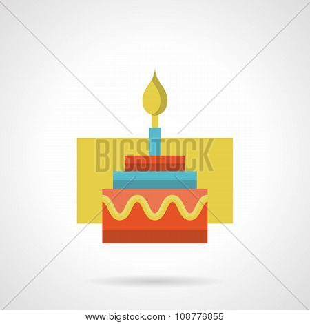 Festive cake with candle flat color vector icon