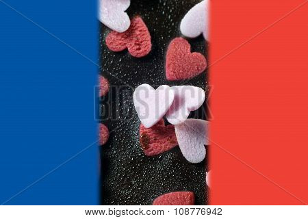 Chocolate Brownie Cake With Flag Of France For