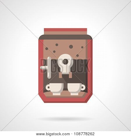 Coffee maker with cups flat vector icon
