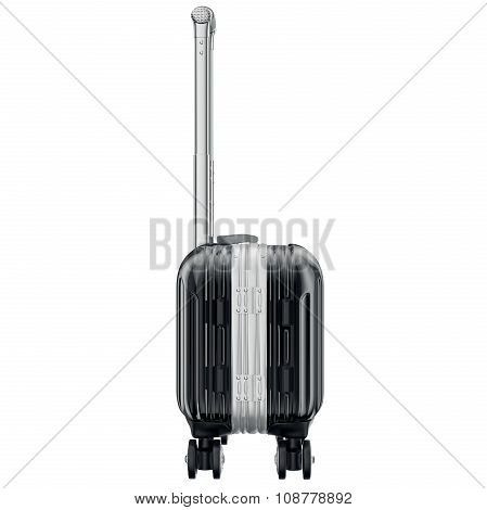 Luggage on wheels black, side view