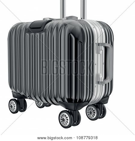 Black metal luggage for travel, zoomed view