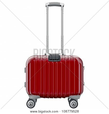 Red luggage on wheels, front view
