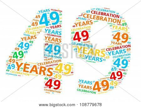 Colorful word cloud for celebrating a 49 year birthday or anniversary
