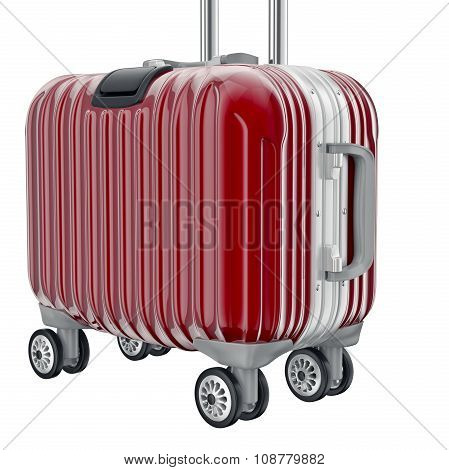 Red metal luggage for travel, zoomed view