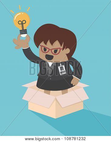 Big Boss Business Woman Outside The Box