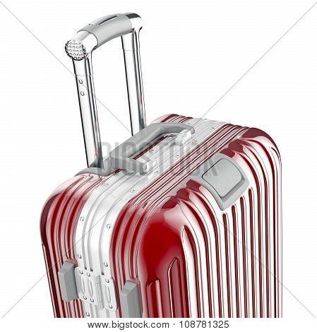 Red metallic luggage, close view