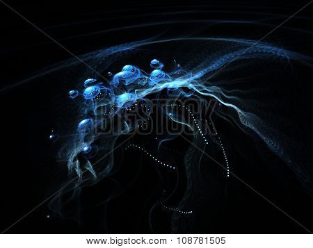 Computer graphics abstract background. Magical composition of blue smoke traces over black