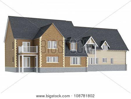 Two storey villa brick facade