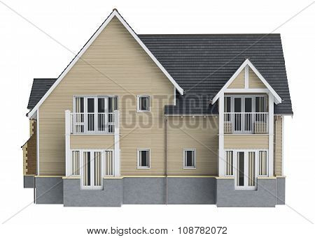 Country house wooden siding, front view
