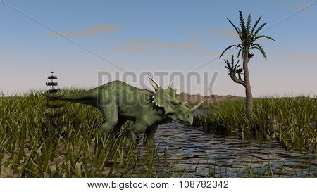 walking styracosaurus