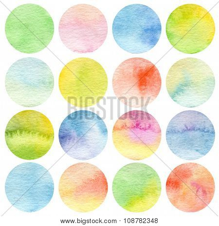 Set of circle watercolor. Texture paper.