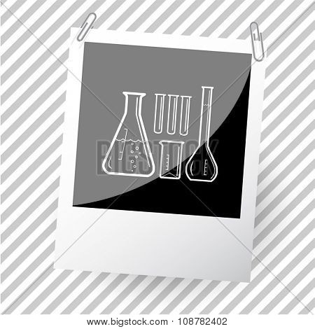 chemical test tubes. Photoframe. Raster icon.