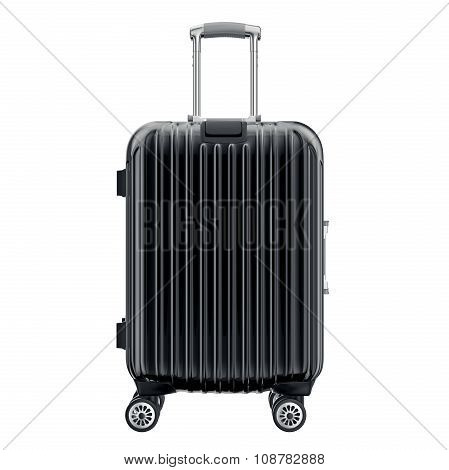 Black suitcase for travel, front view