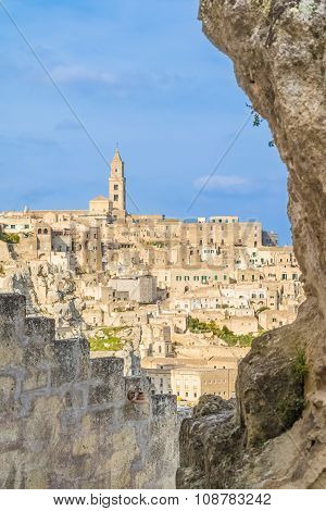 View Of Typical Stones (sassi Di Matera) And Church Of Matera Unesco European Capital Of Culture 201