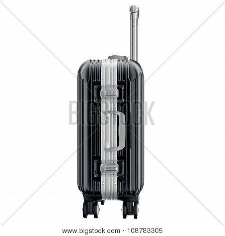 Metal luggage black, side view