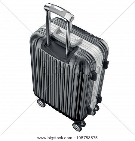 Black metal luggage for travel