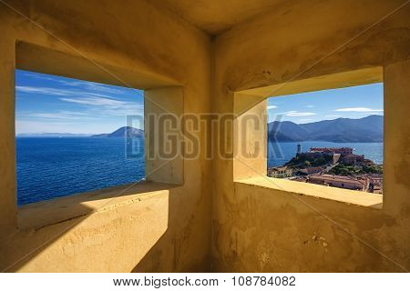 Elba Island, Portoferraio Aerial View From Old Windows. Lighthouse And Fort. Tuscany, Italy.