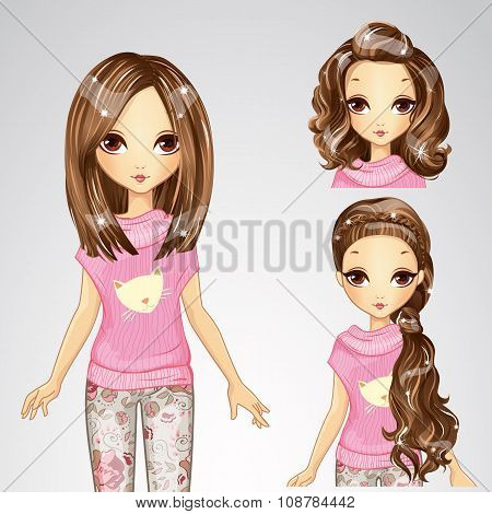 Beautiful Fashion Girl And Collection Of Hairstyle