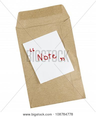 Brown Envelope Document With Paper Isolated On White Background