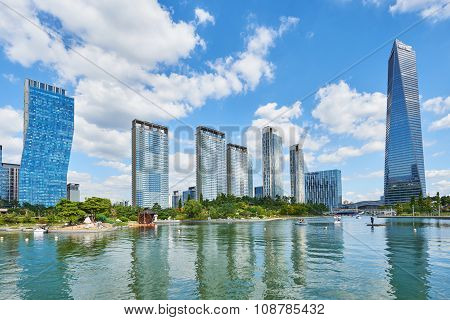 Songdo, Korea - September 07, 2015: Songdo International Business District