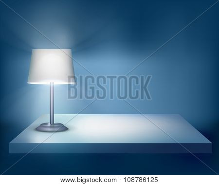 Standing lamp on the table. Vector illustration.