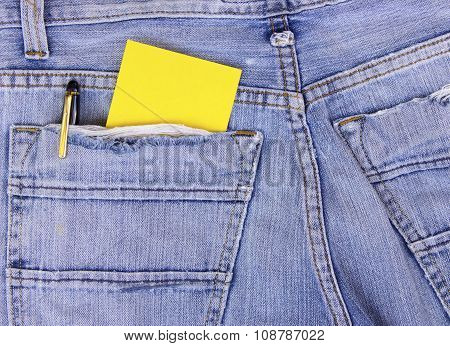 Empty Note In Jeans Pocket