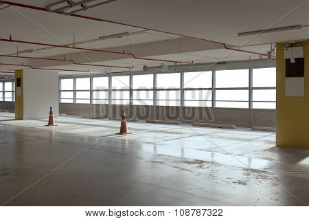 Empty Car Parking Line  With Red Cone And White Windows, Can Use As Background