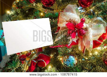 Christmas Greeting Card With Copy Space, Ribbon And Poinsettia Decoration