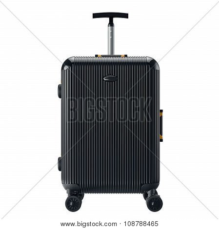 Black luggage for travel, front view