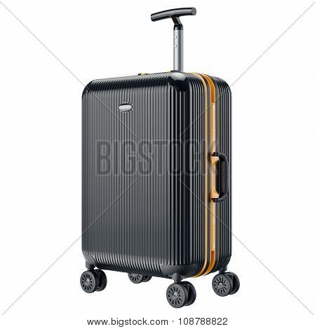 Black metal luggage for travel