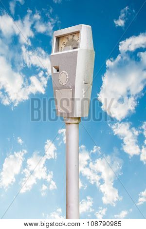 Parking Meter On Blue Sky