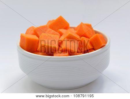 diced pumpkin in a white plate