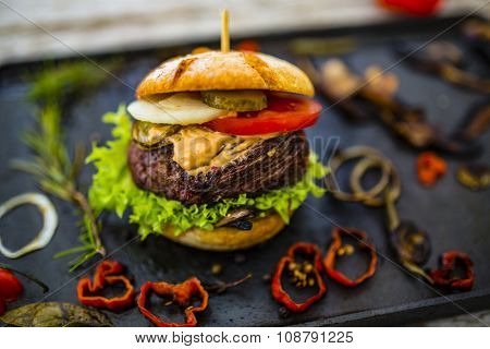 Beef burger - grilled beef tenderloin on a bun