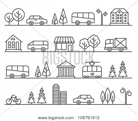 Line city illustration. Vector urban landscape