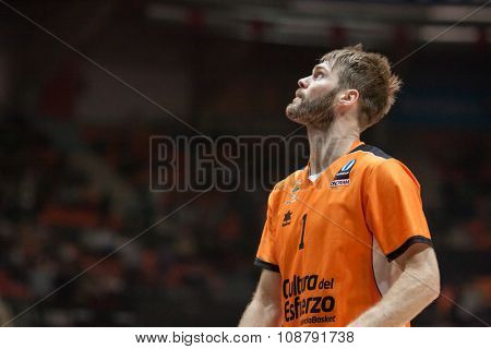 VALENCIA, SPAIN - NOVEMBER 18th: Stefansson during Eurocup between Valencia Basket Club and Sluc Nancy at Fonteta Stadium on November 18, 2015 in Valencia, Spain